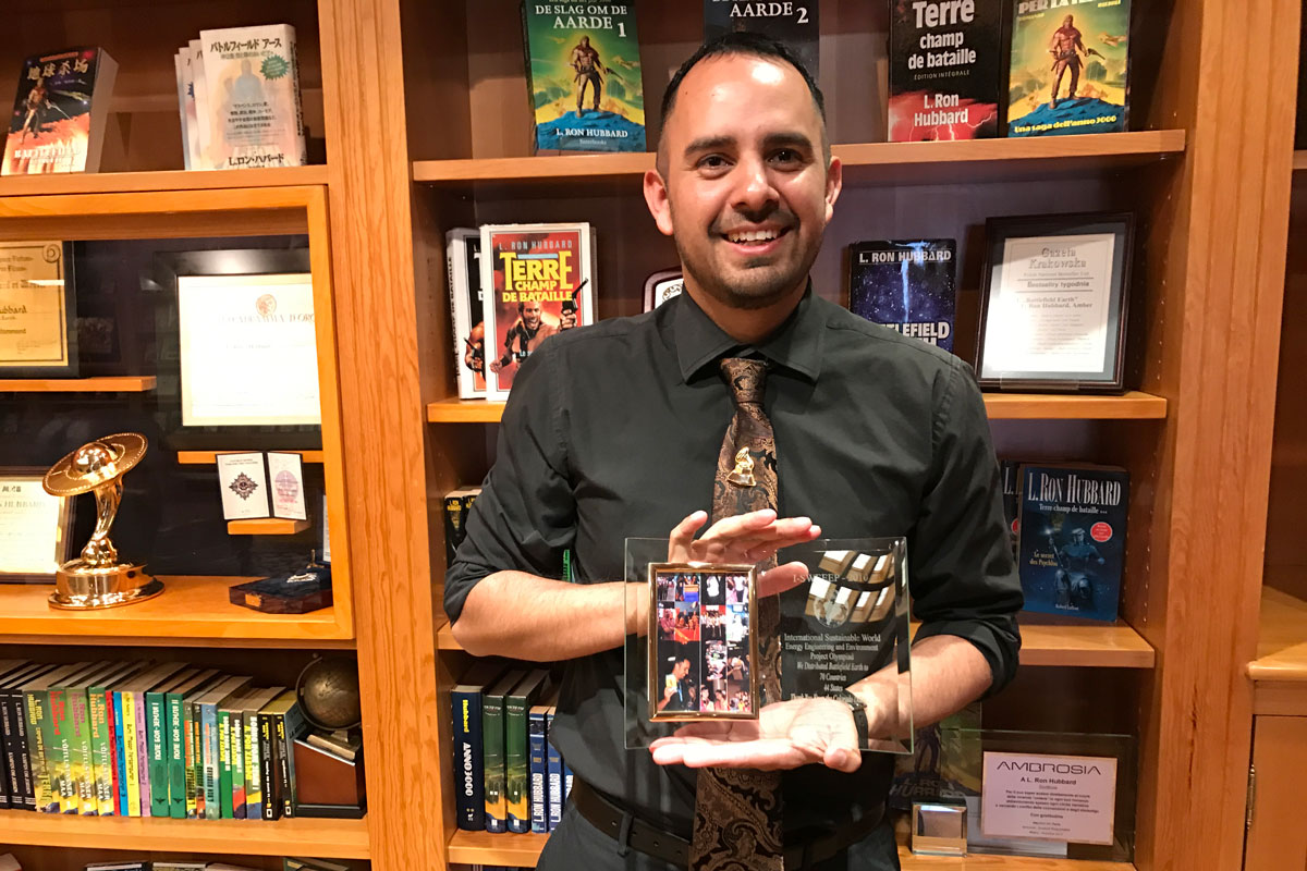 Diego Martinez at the L. Ron Hubbard Library in Hollywood, California