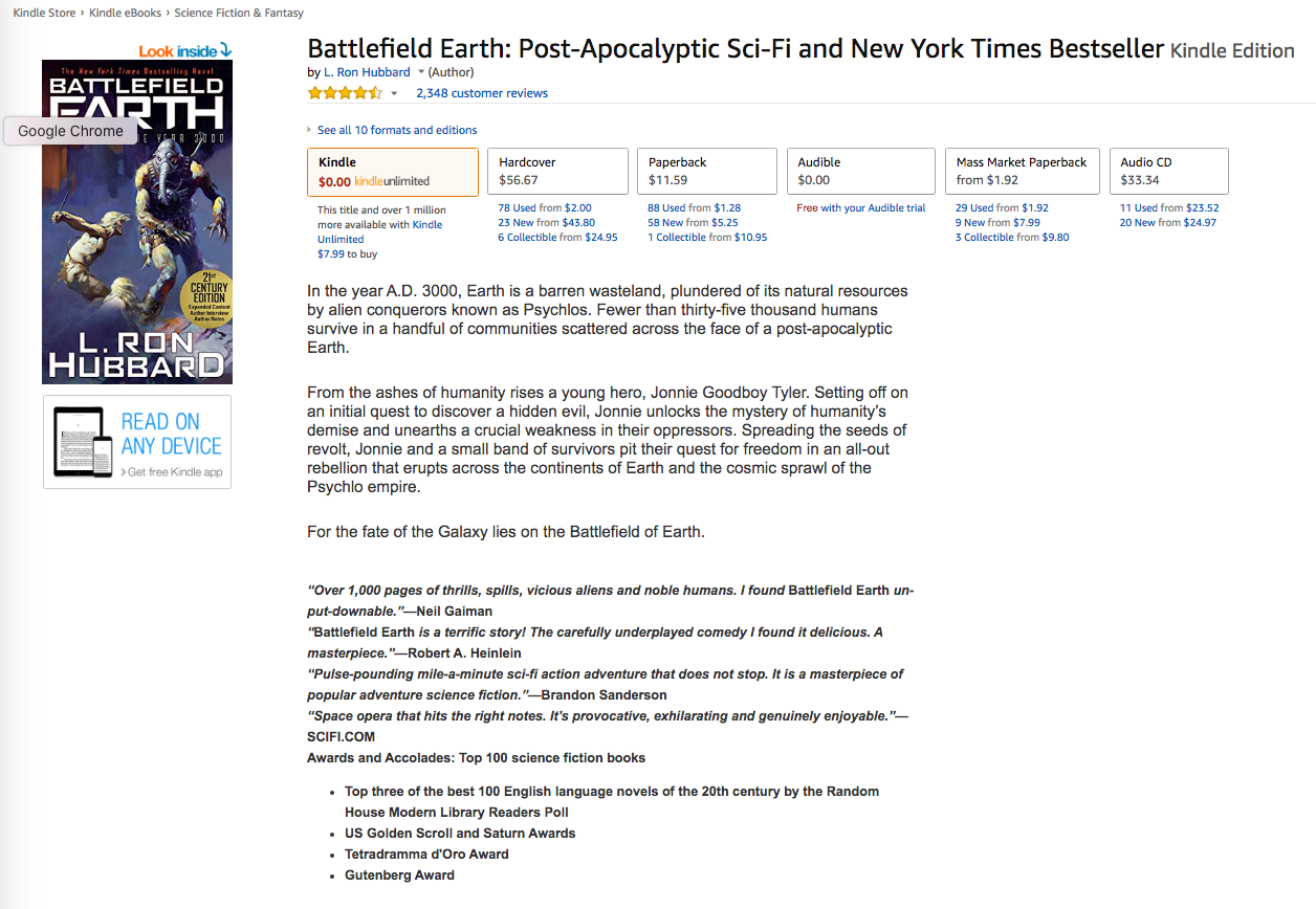 Battlefield Earth Amazon.com Kindle Product Page