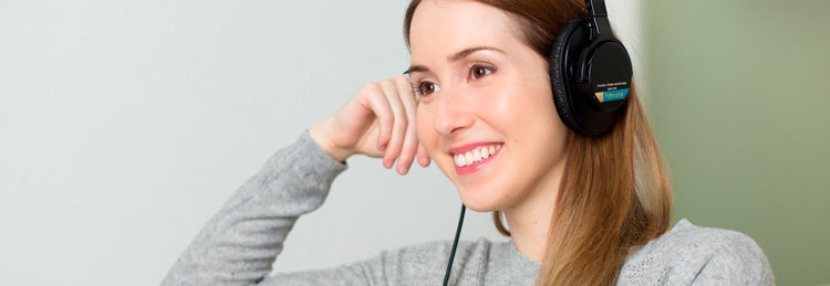 Girl listening to an audiobook