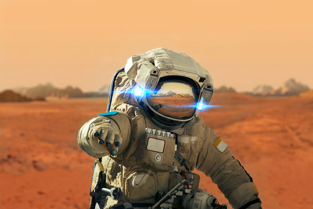 astronaut on a red planet