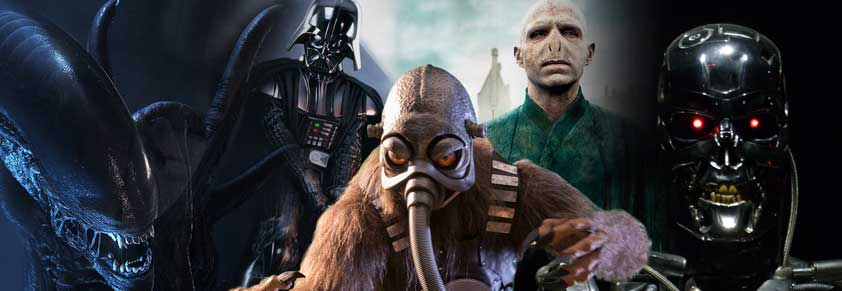 Evil Villains Alien, Darth Vader, Terl, Voldomort, and Terminator