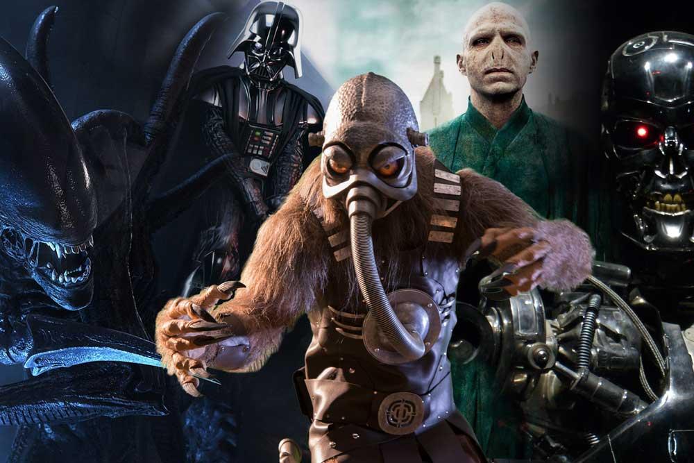 Evil Villains Alien, Darth Vader, Terl, Voldomort, and Terminator