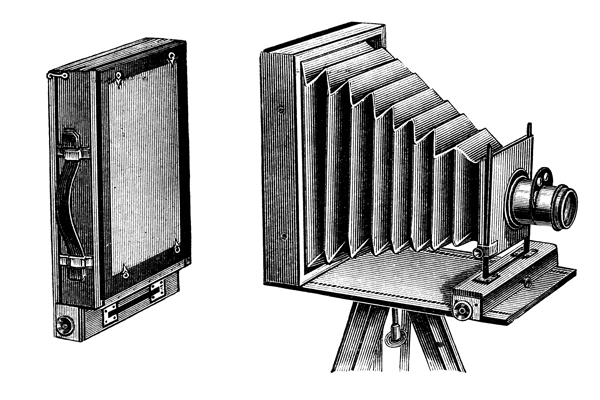 old camera with glass plate